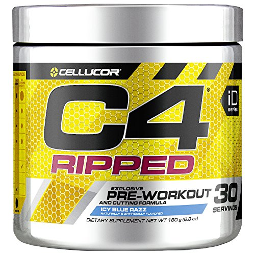 Cellucor C4 Ripped Pre Workout Powder, Thermogenic Fat Burner, Energy & Weight Loss Supplement For Men & Women, Icy Blue Razz, 30 Servings by Cellucor