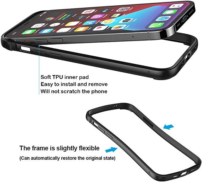 iPhone12Mini, Black HENGHUI Aluminum Bumpers Compatible with iPhone 12 Mini 5.4-INCH Bumper Case Metal Frame Bumper Cover Shock Absorbent Slim Cool Design