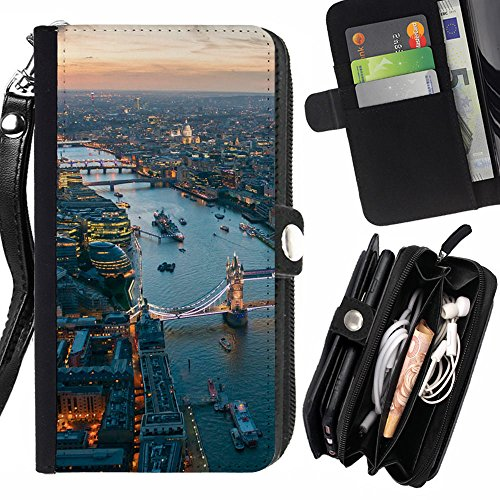 Graphic4You London Aerial View Postcard Design Zipper Wallet With Strap Card Holder Case Cover for Samsung Galaxy Note 8