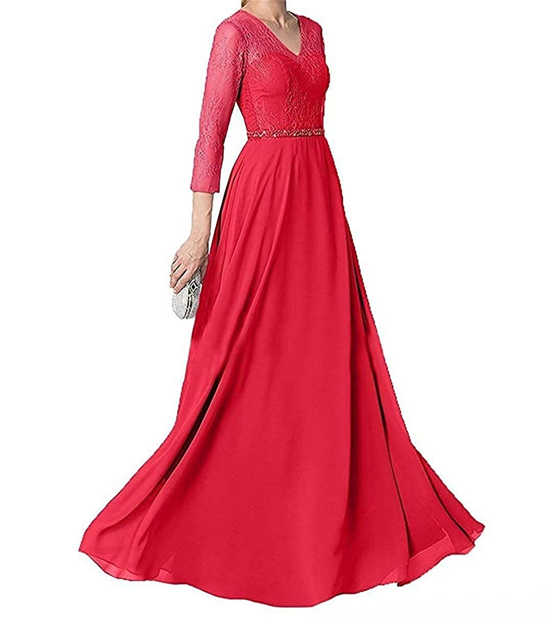 Red Mother of The Bride Dresses with Sleeves Long Evening Party Dresses V Neck