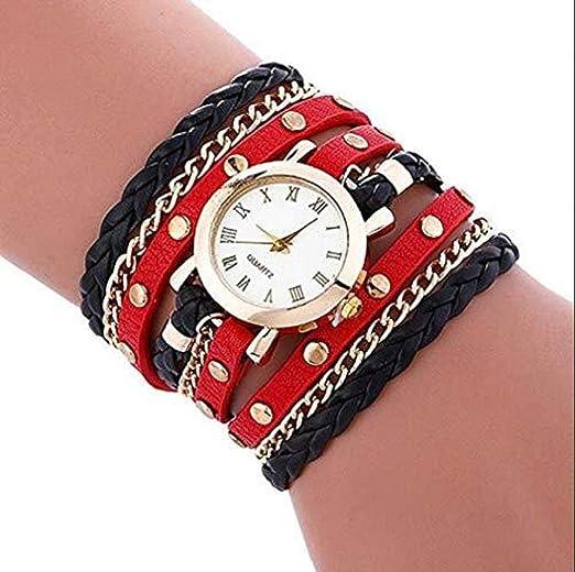 Relojes de Pulsera para Mujer Liquidación Relojes de señora Relojes Femeninos de Cuero en Oferta Relojes (Rojo): Amazon.es: Relojes