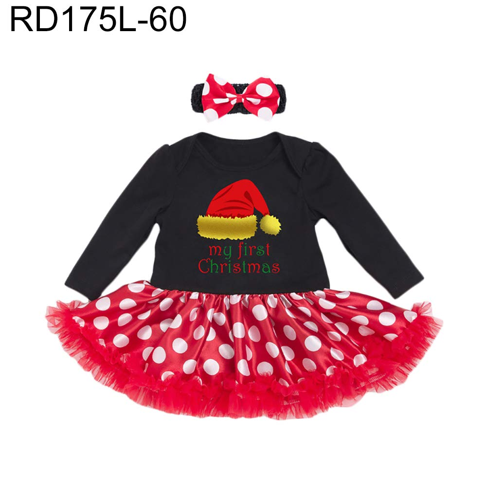 c9859b1efe6 gainvictorlfChristmas Infant Baby Girls Long Sleeve Romper Polka Dot Skirt  Headband Outfit - RD175L-60 59cm(0-3M)  Amazon.ca  Home   Kitchen
