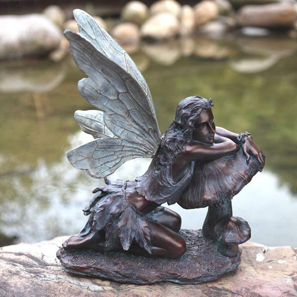 Fairy on Mushroom Bronze Finish 17'' Resin Stone Garden Statue Figurine