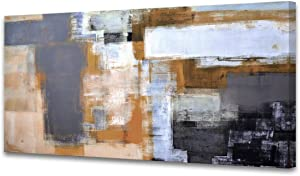 A61850 Modern Giclee Canvas Prints Picture Wall Art Abstract Brown Grey Framed Paintings for Bedroom Living Room Office Home Decoration Modern Artwork Wall Decor Ready to Hang 20x40 inch