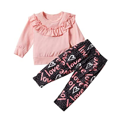 Iuhan Girls Clothes Set Toddler Baby Autumn Ruched Ruffles Tops Letter Pants Trousers Set: Clothing