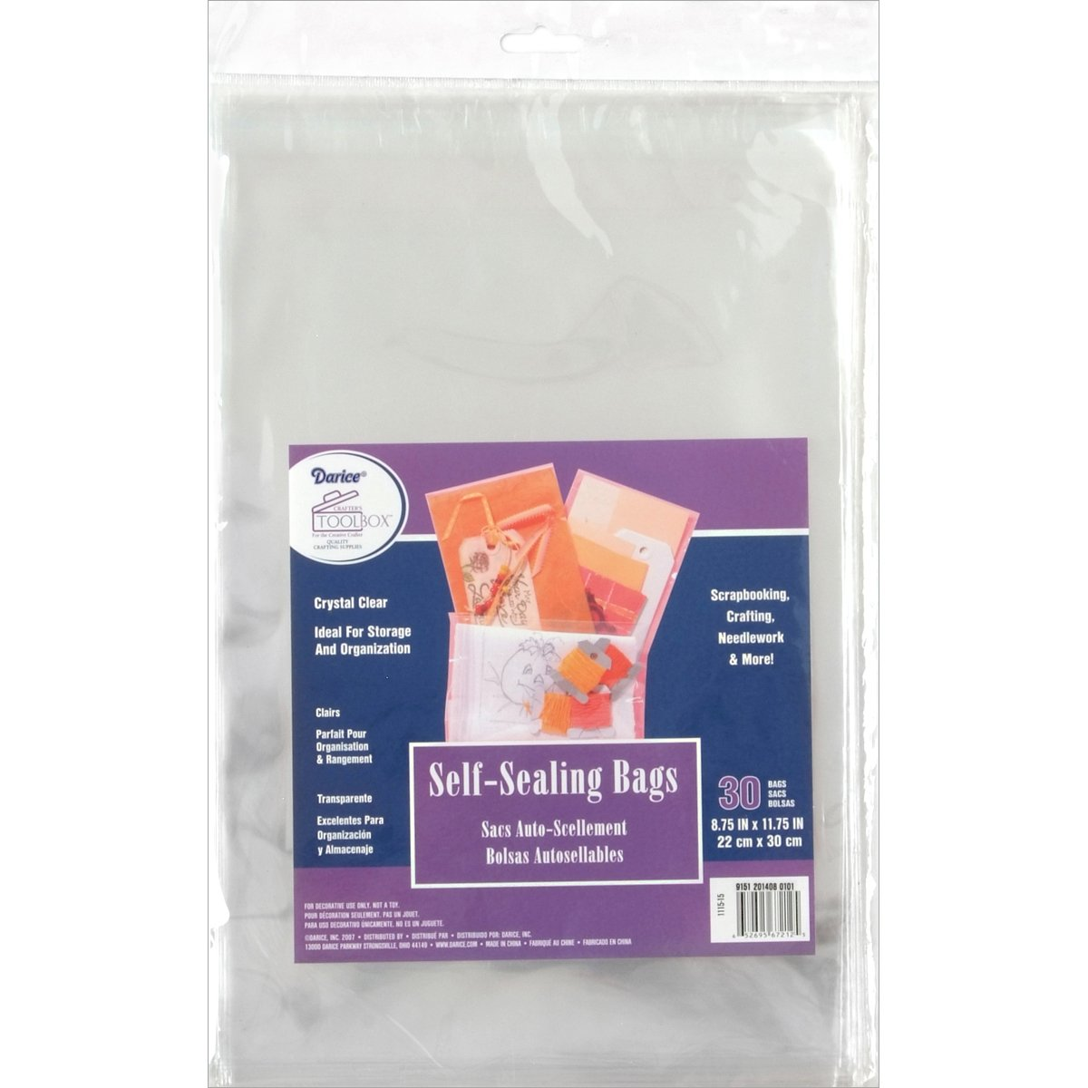 Darice 1115-15 30/Pack Plastic Self Sealing Bags, 8-3/4 by 11-3/4-Inch, Clear