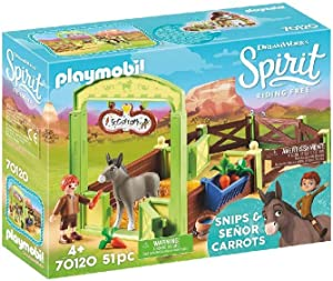 PLAYMOBIL Spirit Riding Free Snips & Señor Carrots with Horse Stall