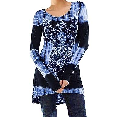 2faa8745ea6b5 KEERADS T-Shirt Mode Chic Femme Manche Longues Imprimé NuméRique Fleur  Tunique Lche Longue Blouse