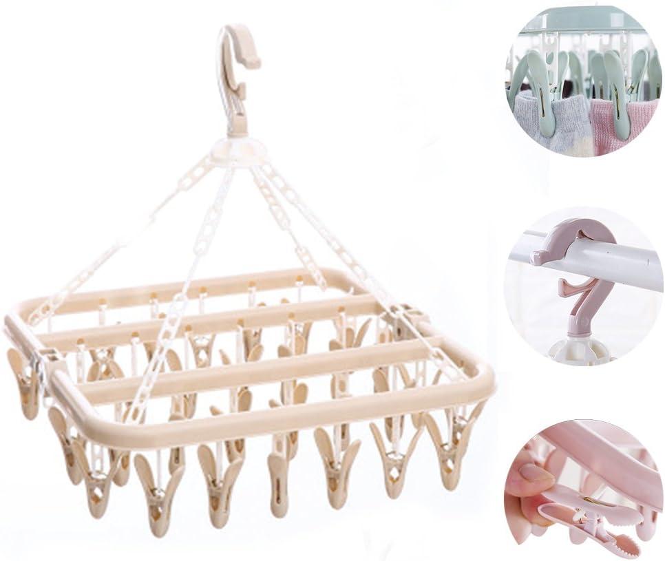ahorro de espacio 35 clavijas Abrazadera de secado para interior para ropa interior pl/ástico plegable Tama/ño libre gris