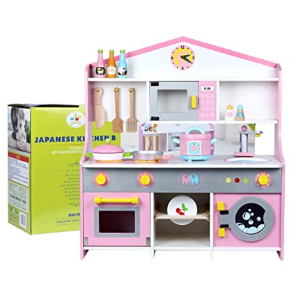 Amazon.com: Kids Kitchen Toy Wooden Simulation Gas and Stove ...