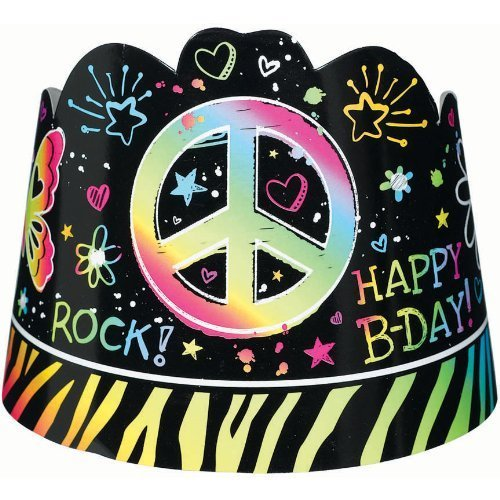 Amscan Groovy Neon Birthday Doodle Paper Tiaras Wearable Favour Party Supplies (48), Multicolor, 96 (Rainbow Butterfly Party Mask)