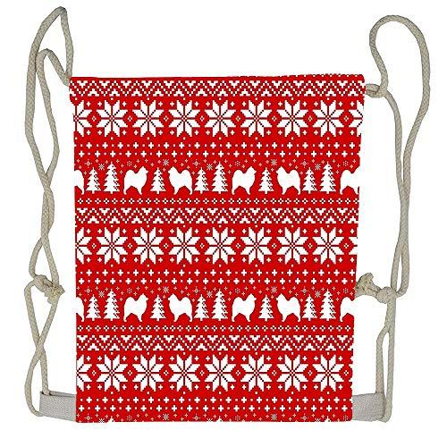 (AoshangGardeflag Samoyed Silhouettes Christmas Sweater Pattern Gym Bags Drawstring Bag Storage Pouch Multi-functional Bag)