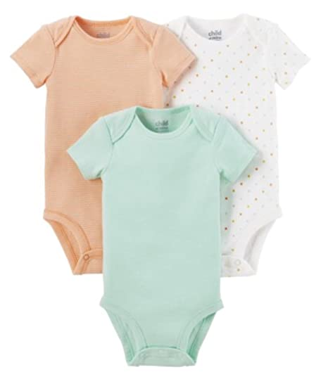 8f40ac70fa26a Child of Mine by Carter's Newborn Baby Neutral Short Sleeve Basic 3 Pack  Bodysuit, Size