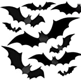 Halloween Party Indoor Outdoor Decor Supplies, 56 PCS Reusable PVC 3D Decorative Scary Bats Wall Sticker Comes with…