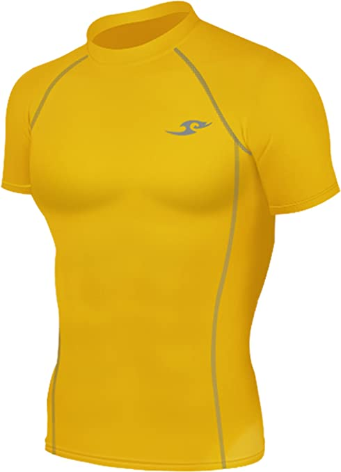 Nueva 068 Amarillo Piel mallas de compresión base layer camiseta de manga corta para hombre T, hombre, color amarillo, tamaño small: Amazon.es: Deportes y aire libre