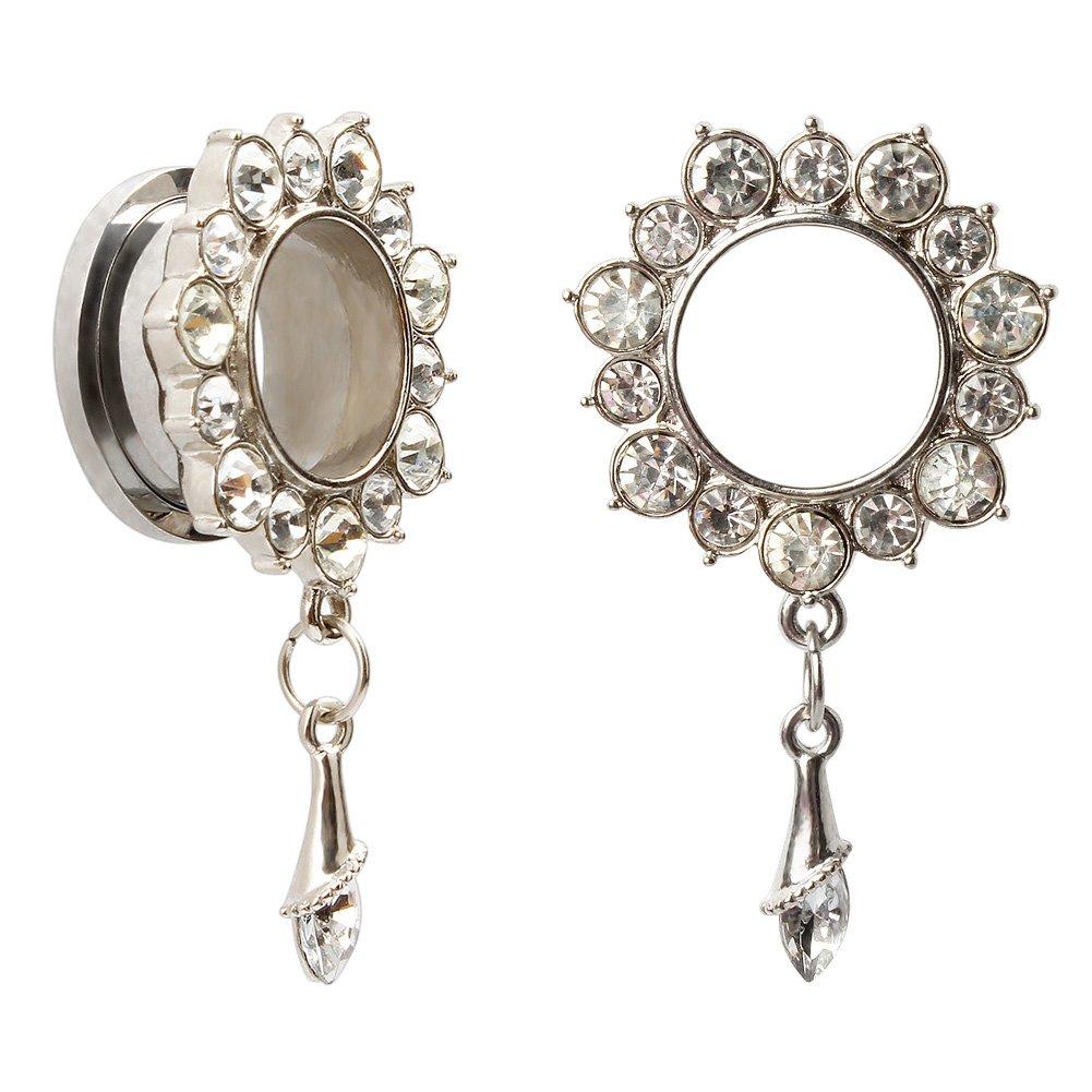 KUBOOZ Ear Piercings Plugs Tunnels Jewelry Gemmed Flower Drop Eyelets Stainless Steel Flare Screw Back Plugs Gauges A013