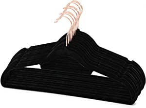 BBFISH Premium Velvet Hangers Home Non-Slip Clothes Hanger 50 Pack Ultra Thin Space Saving with 360° Swivel Rose Gold Hook Strong and Durable Coat Hangers (Black)