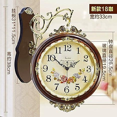 Relojes antiguos europeos en ambos lados de doble cara, reloj de pared Salón reina el