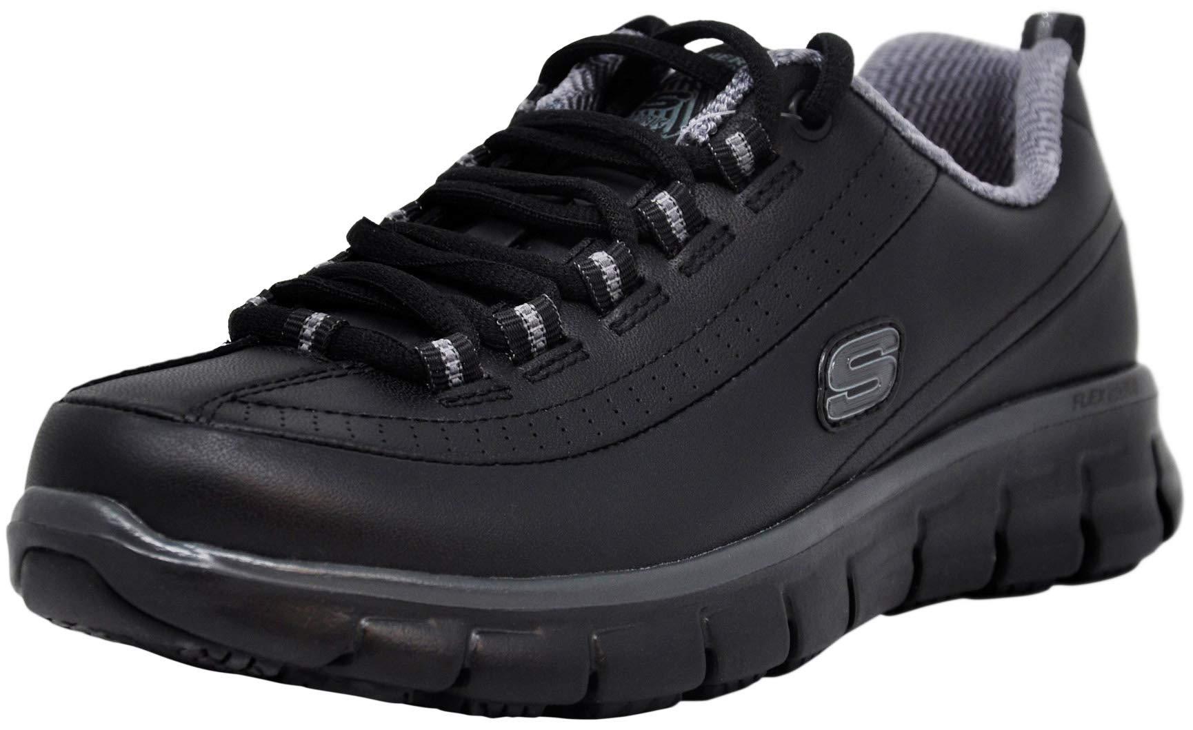 Skechers for Work Women's Sure Track Trickel Slip Resistant Work Shoe (11 M US, Black/Grey) by Skechers