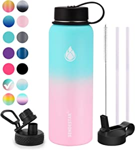 SENDESTAR Water bottle 40 oz Double Wall Vacuum Insulated Leak Proof Stainless Steel Sports Water Bottle—Wide Mouth with Straw Lid & Flex Cap & Spout Lid (Bubble Gum)