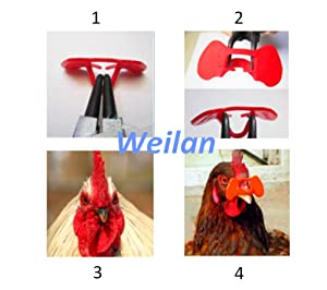 21 PCS Pinless Peepers with Pliers Chicken Peepers Eye Glasses Pheasant Poultry Blinders Spectacles Anti-Pecking Plier Tool by For Happy Pets (Color: Red, Tamaño: First)
