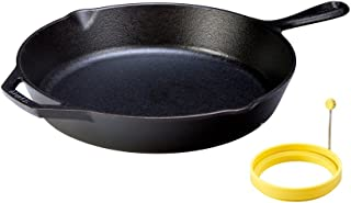 product image for LODGE Pre-Seasoned Cast Iron Skillet (12 inch) and Dishwasher Safe Silicone Egg Ring (4 inch) for Breakfast Sandwiches or Pancakes