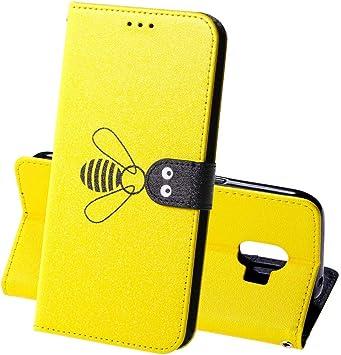 XINYIYI Estuche para Samsung Galaxy J2 Pro Bookstyle Abeja Estuche Pintado Pintado PU Funda de Cuero Flip Flap Funda Protectora TPU Funda de Silicona para Samsung Galaxy J2 Pro -Amarillo: Amazon.es: Electrónica