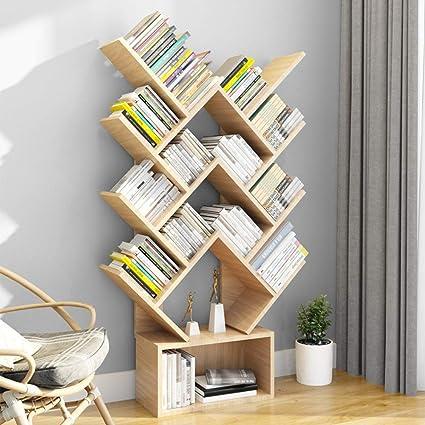 Estantería para libros y libros, 14 estantes, tablero DM, color negro, estantes pequeños de madera, organizador de libros, estante organizador para ...
