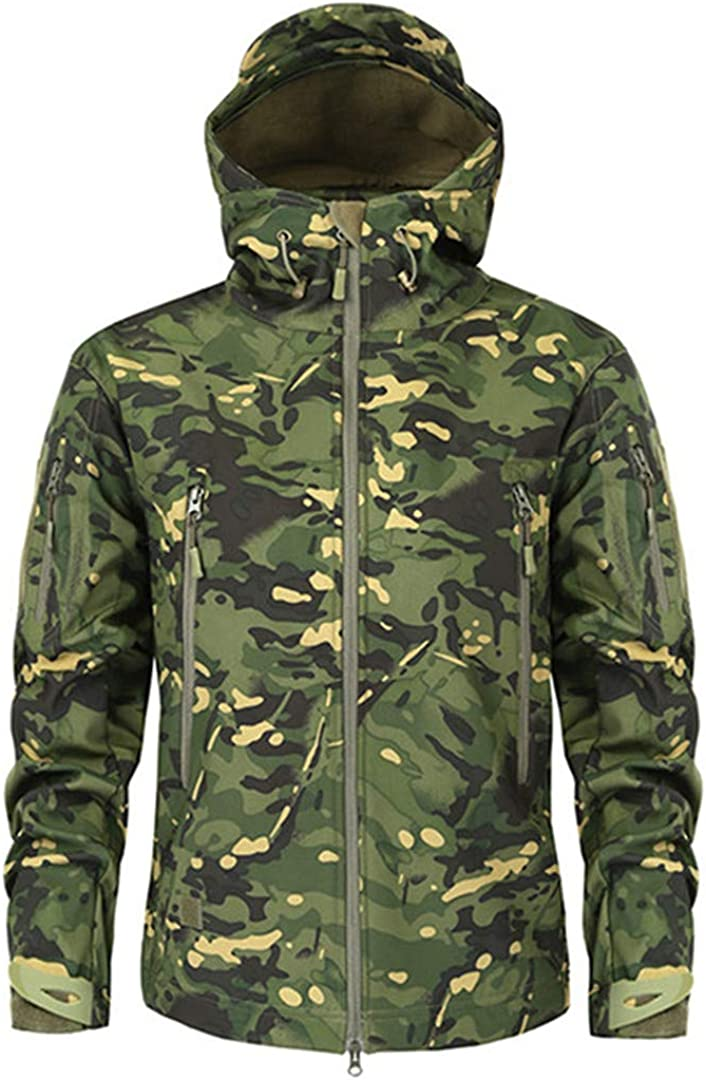 IFAWNGDK Shark Skin Soft Shell Military Tactical Jacket Men Waterproof Fleece Clothing Camouflage Windbreakers
