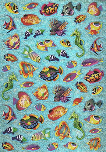 (Greenbrier Laser Stickers ~ Colorful Exotic Saltwater Fish (50 Stickers, 1 Sheet))