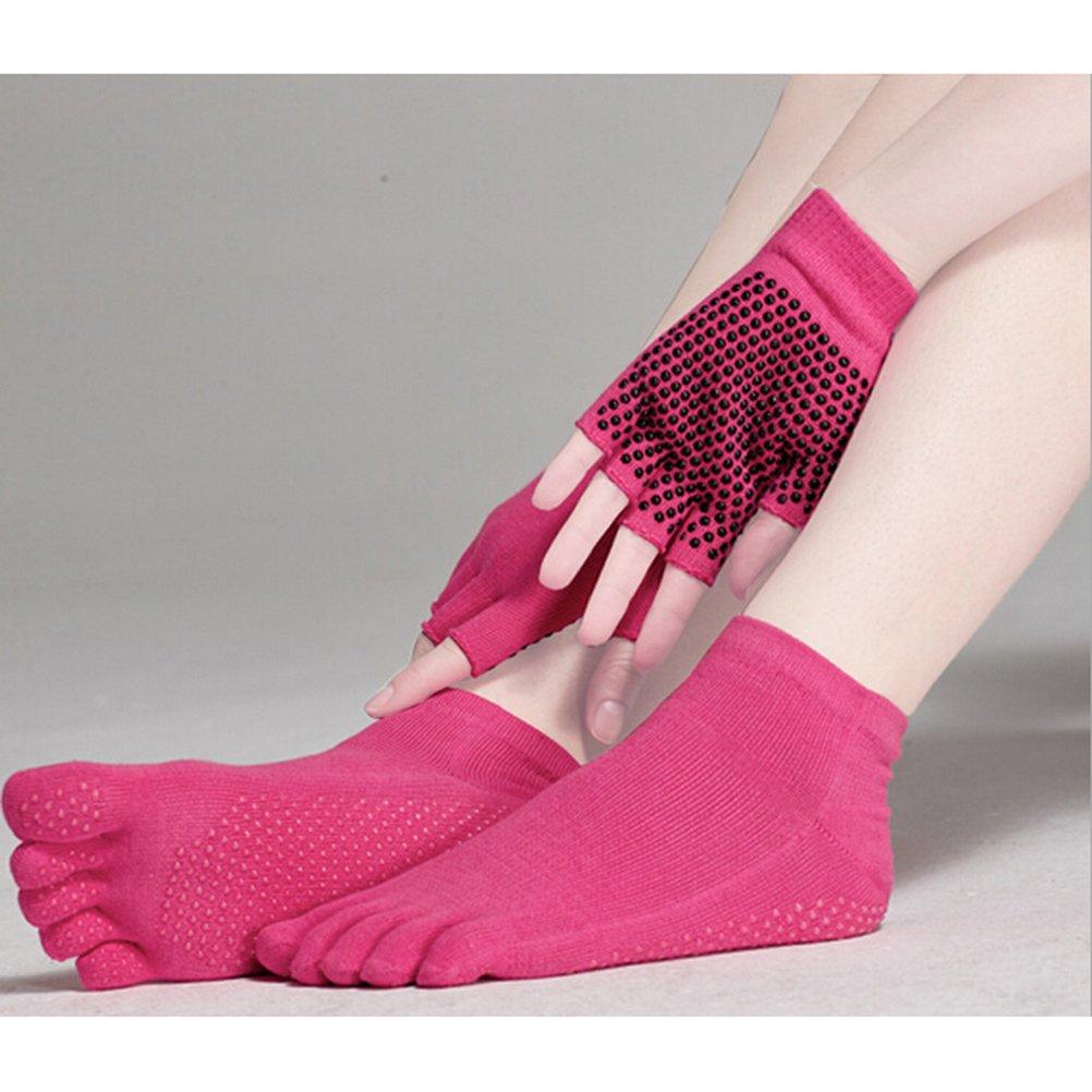schwarz Pixnor Yoga Socken und Yoga-Handschuhe-Sets mit Silikon Punkten