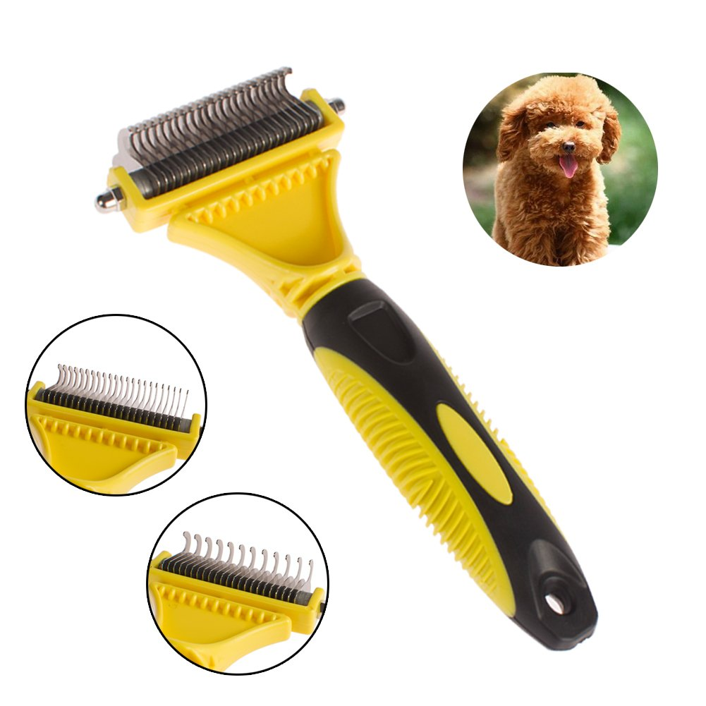 Hilou Pet Dematting Comb Brush Tool Double Sided Steel Rake for Dog Removes Undercoat Mats Tangles