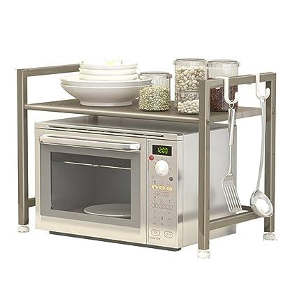 PENGFEI Estante De Cocina Microondas Rejilla del Horno Piso De Pie Multifunción Plato Maceta Soporte Metal