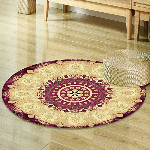 Rug Antique Round Floral (Nalahomeqq Mandala Decor Collection Vintage Floral Mandala Image Antique Style Round Golden Indian Leaf Pattern Symmetry Art Polyester Fabric Room Circle carpet non-slip Gold Red-Diameter 90cm(36