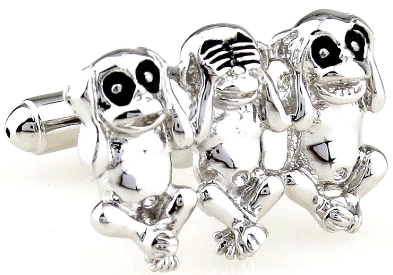 MRCUFF Monkeys 3 Three Pair Cufflinks in a Presentation Gift Box & Polishing Cloth