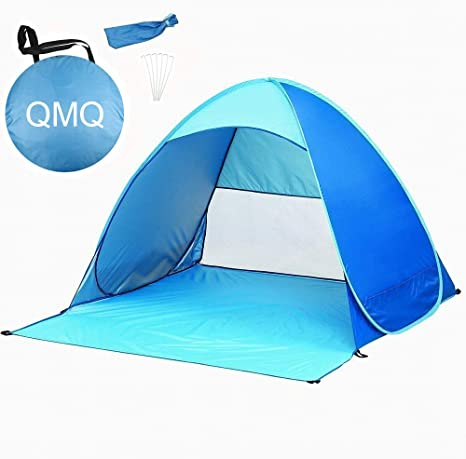QMQ Pop up Beach Tent Outdoor Automatic Pop up Instant Portable Cabana Beach Tent 2 3 Person Fishing Anti UV Beach Tent Beach Shelter 145X165X110CM