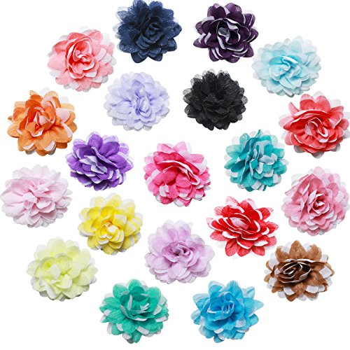 How To Make Crochet Flowers (CellElection 20 Pcs Double Color of Chiffon Flower Rose Flower DIY Hairpin Hair Clips Hair)