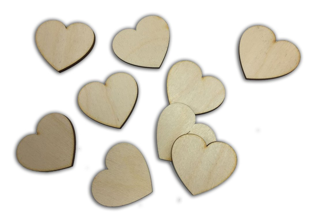 Tags Embellishments 25mm Hearts Wooden Craft Shapes 3mm MDF Ply