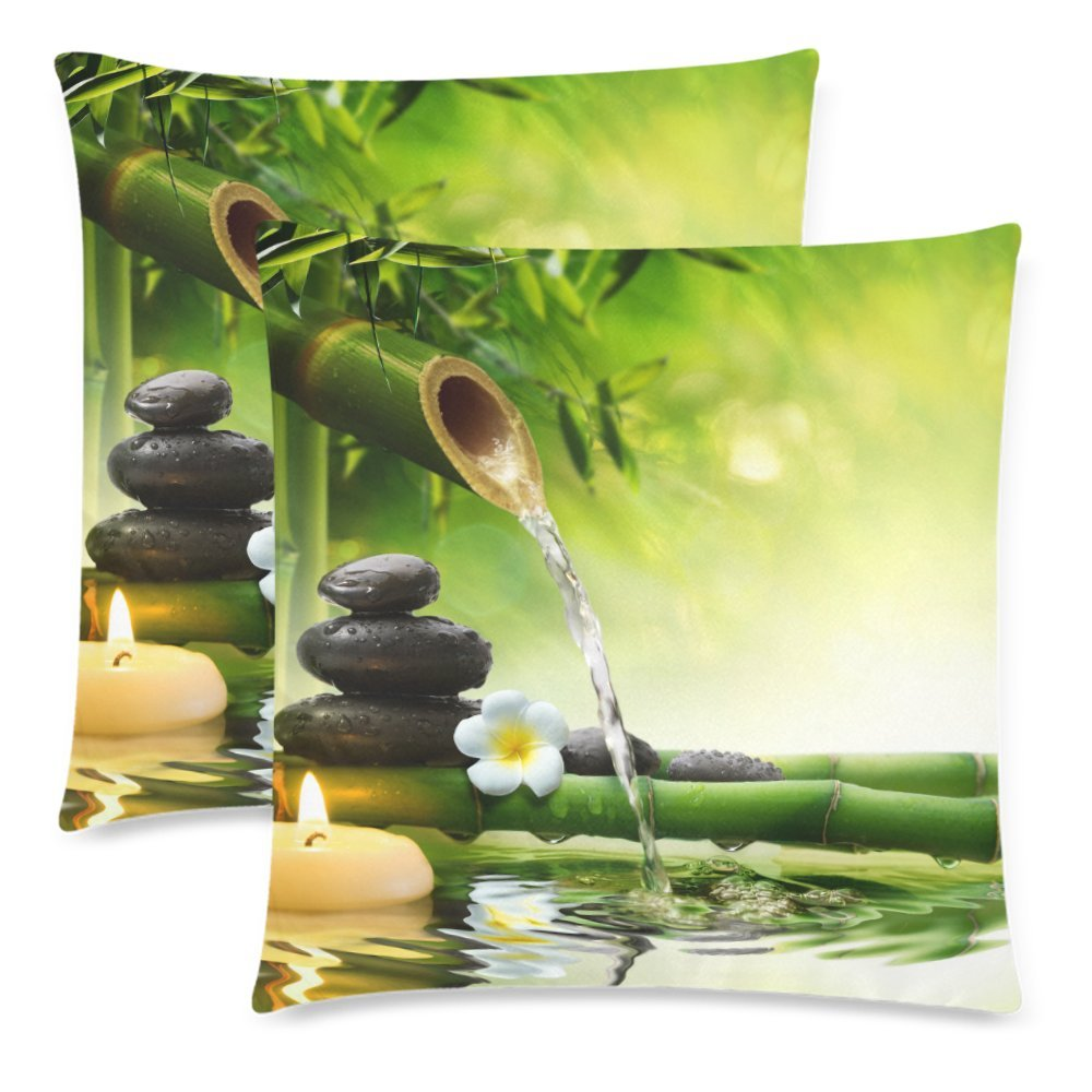 InterestPrint Nature with Spa Decor Stones Bamboo Pillowcase Pillow Cushion Case Cover 18x18 Twin Sides, Jasmine Flower Japanese Design Polyester Zippered Throw Pillow Case Decorative, Set of 2