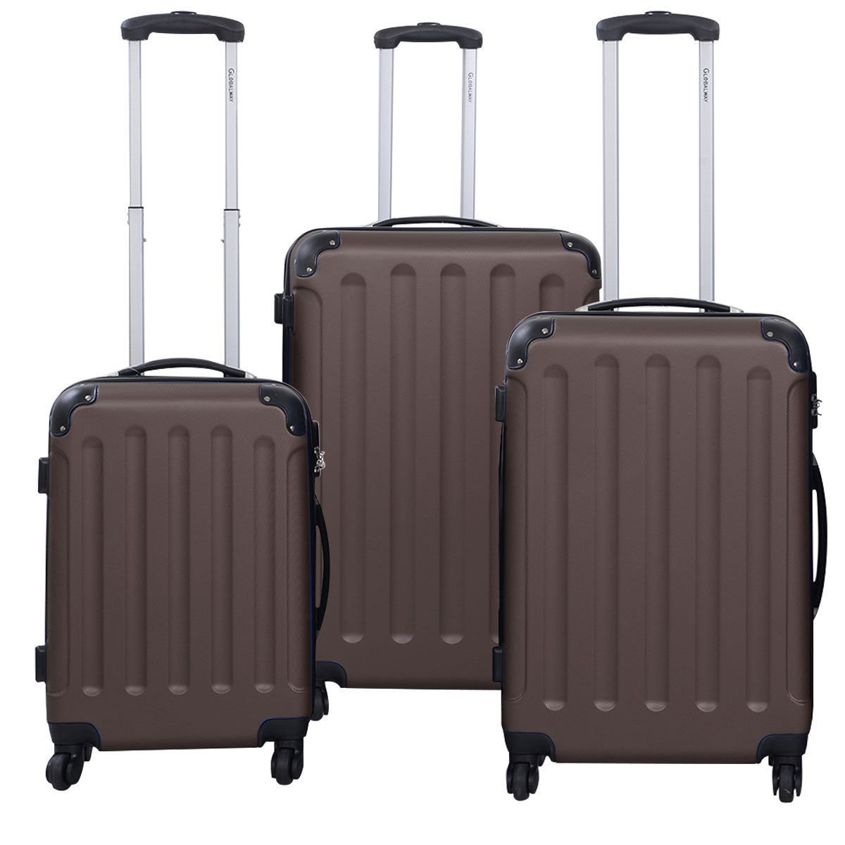 3 Pcs Luggage Travel Set Bag ABS+PC Trolley Suitcase Brown by tamsun