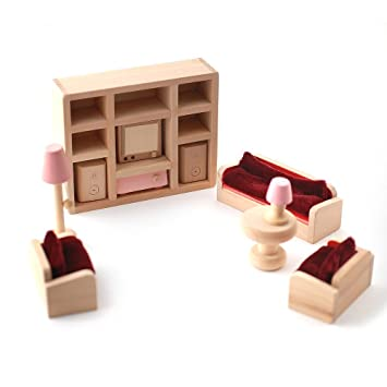 Wooden Dolls House Furniture Set   PINK Living Room