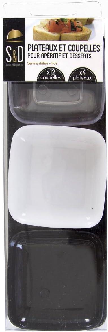 Promobo/ /Piatto per aperitivo 4/ripiani e 12/COPPETTE in plastica