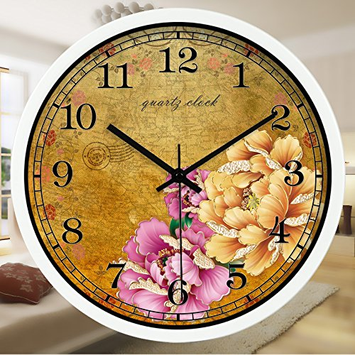 (TNKML Large Indoor Decorative Wall Clock Quartz Clock Peony Retro Literary Western Restaurant Creative Clock Country Mute Clock 83,16 Inches, White Metal Frame)