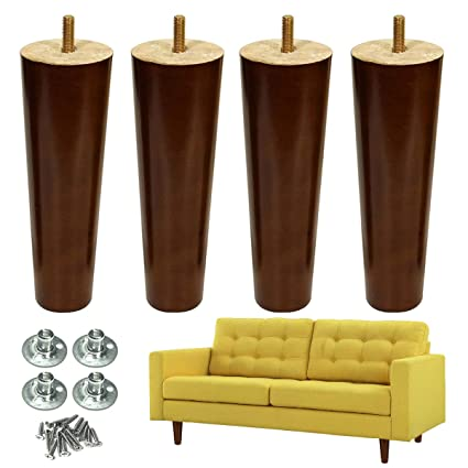 Furniture Leg Sofa Legs Wood 8 inch Midcentury Walnut Color Chair Legs Replacement 5/16 inch Bolt Set of 4 - - Amazon.com  sc 1 st  Amazon.com & Furniture Leg Sofa Legs Wood 8 inch Midcentury Walnut Color Chair ...
