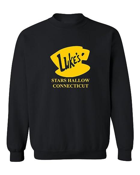 a742e878e Custom Apparel R Us Luke's Diner Stars Hollow CT Gilmore Girls Crewneck  Sweatshirt Black Small
