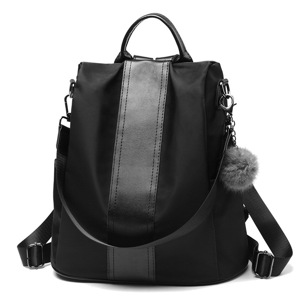 Women Backpack Purse Nylon Anti-theft Rucksack Travel School Black Shoulder Bag