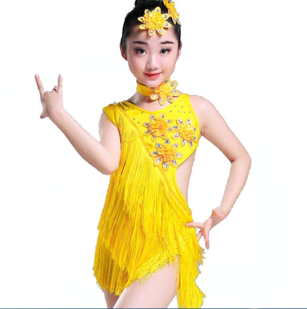 ZHANGQIANガールズラテンダンスドレス、タッセルパフォーマンスラテンガール子供用パフォーマンスダンスドレス、黄色、140 CM B07R4JMZ18