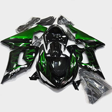 ABS Injection Molding - Motorcycle Bodywork Fairing Kit for Kawasaki Ninja ZX6R 636 2005-2006 Green Flame Painting With Graphic