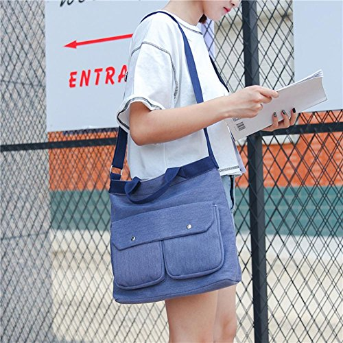 Bags Women Blue Canvas Widewing Two Bag Portable pocket Messenger Shoulder Korean 0IwwgqO