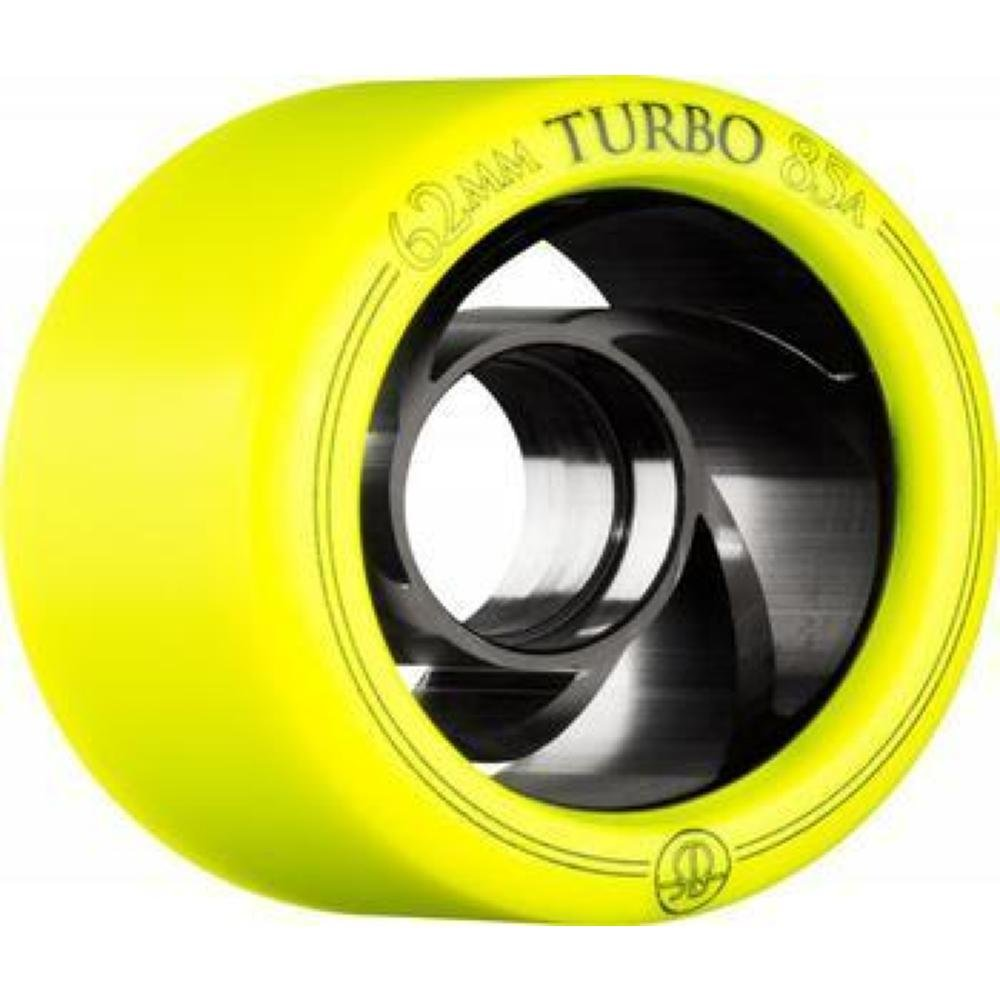Rollerbones Turbo 85A Speed/Derby Wheels with an Aluminum Hub (Set of 8), 62mm, Yellow